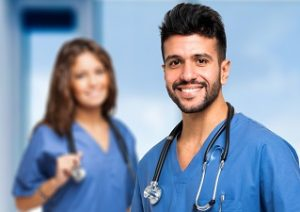 Smiling female and male nurses to promote CAPWHN careers page